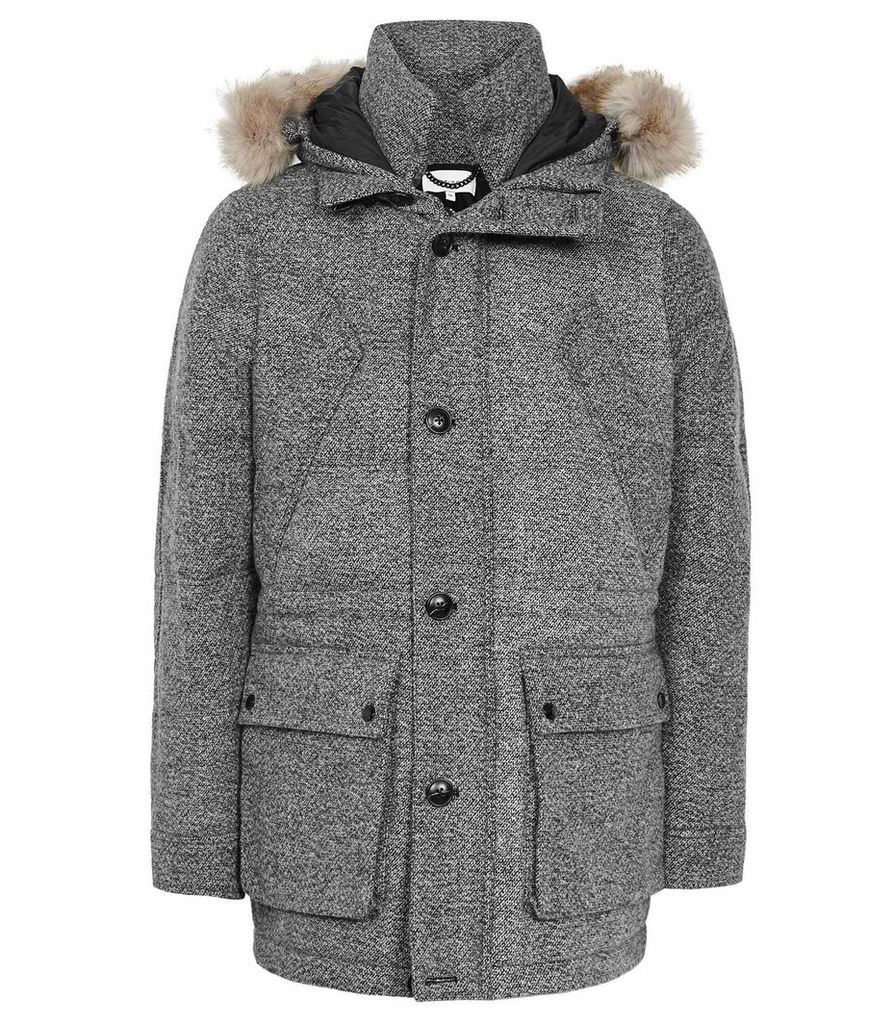 Reiss Shaw - Faux Fur Hooded Down Parka in Grey, Mens, Size XXL
