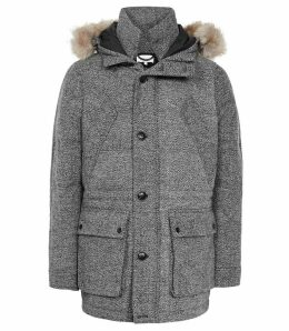 Reiss Shaw - Faux Fur Hooded Down Parka in Grey, Mens, Size XXL