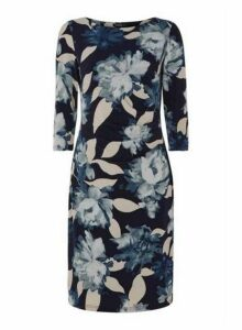 Womens *Roman Originals Navy Floral Ruched Dress- Navy, Navy