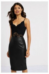 Lipsy Faux Leather Pencil Skirt - 14 - Black