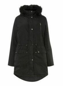 Womens **Dp Curve Black Parka Coat- Black, Black