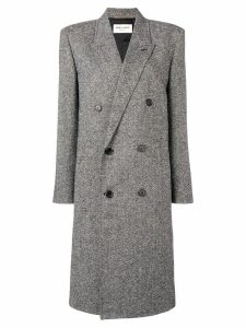 Saint Laurent double breasted caviar tweed coat - Black