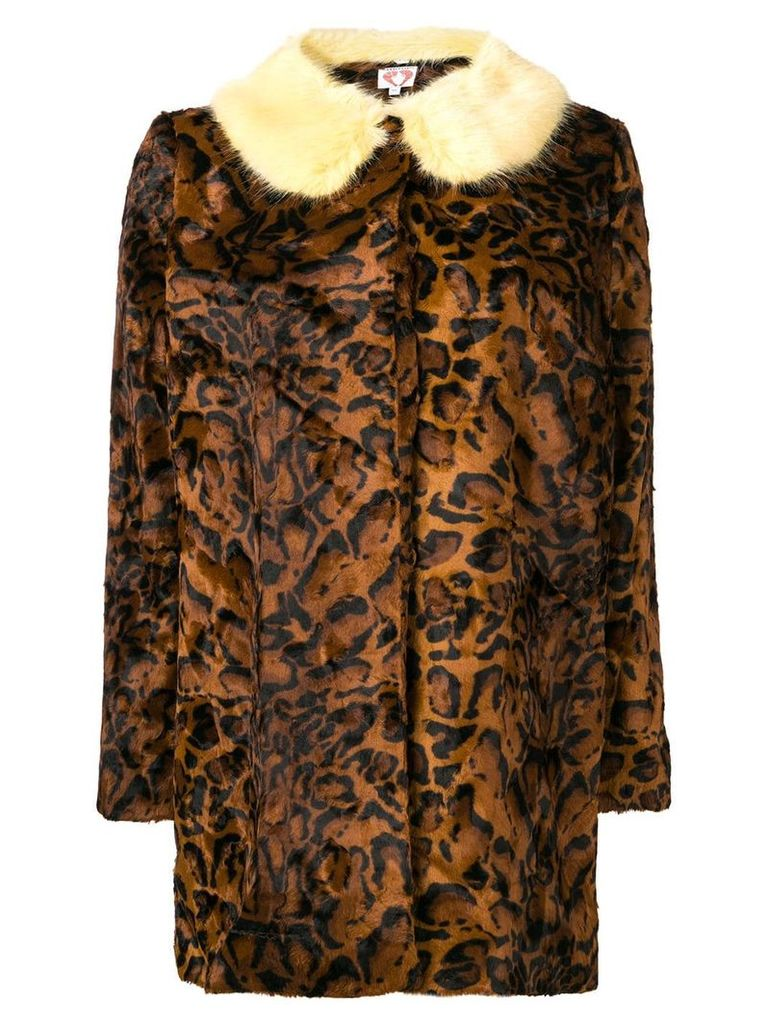 Shrimps leopard faux-fur coat - Brown
