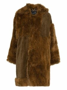 Martine Rose logo tab faux fur cotton blend coat - Brown