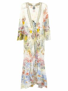 Camilla floral print long coat - Neutrals