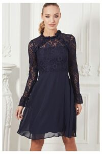 Womens Sistaglam Long Sleeve Lace Skater Dress -  Blue