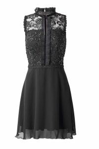 Womens Sistaglam Skater Dress With Sequin Lace Top Dress -  Black