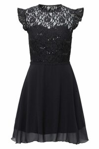 Womens Sistaglam Lace Short Sleeve Boucle Skirt Dress -  Black