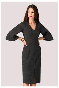 Womens Closet V neck Flared Sleeves Dress -  Black