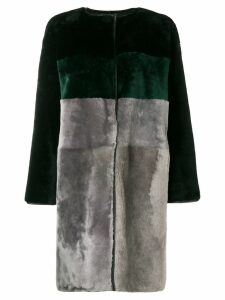 Herno colour block fur coat - Grey