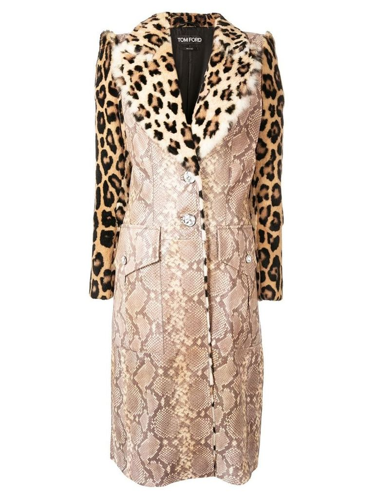 Tom Ford animal print coat - Brown