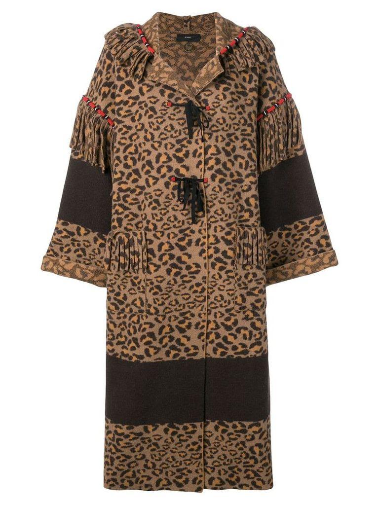 Alanui leopard print coat - Brown