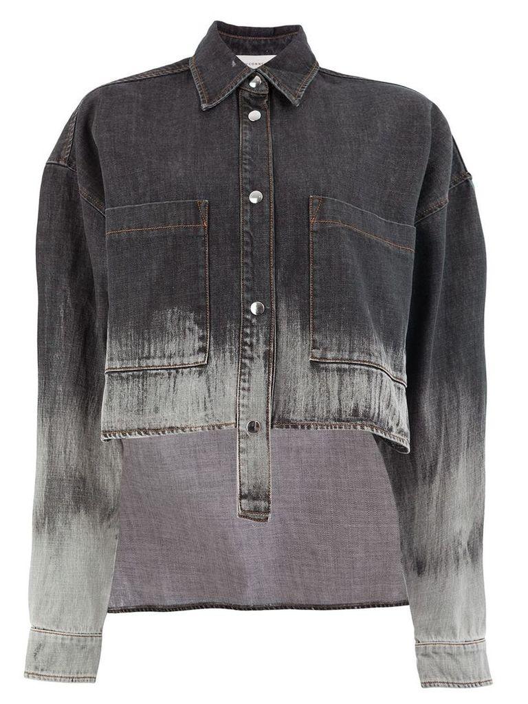 Faith Connexion asymmetric bleached denim jacket - Black