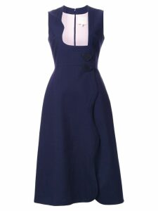 Roksanda scalloped fastening dress - Blue