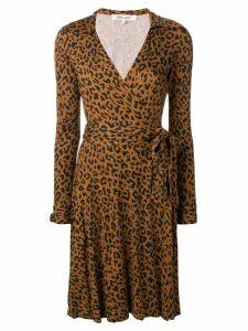 Diane von Furstenberg leopard wrap dress - Brown