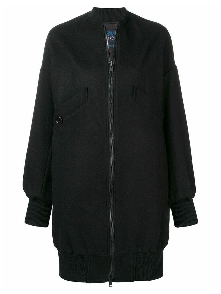 Yohji Yamamoto long bomber jacket - Black