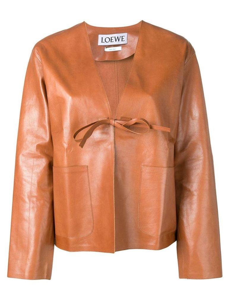 Loewe short leather jacket - Brown