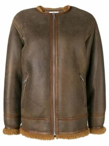 Isabel Marant Étoile fur lined leather jacket - Brown