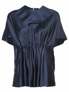 Vionnet round neck pleated blouse - Blue