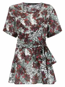 Andrea Marques belted printed blouse - White