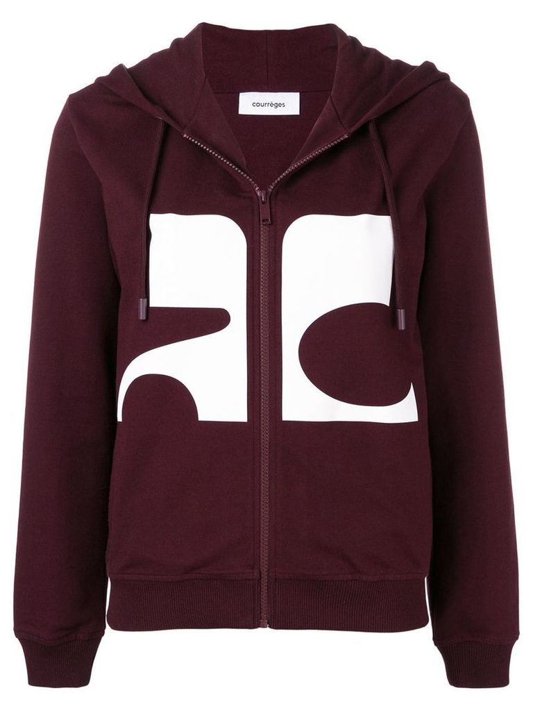 Courrèges logo zipped hoodie - Red