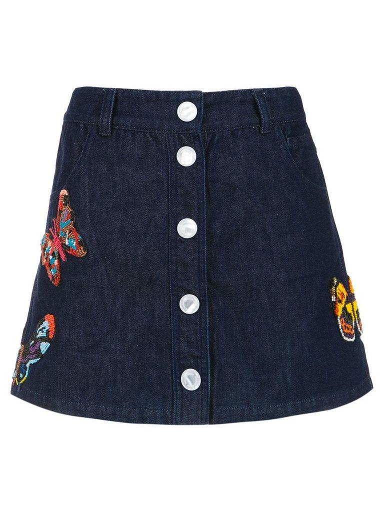 Andrea Bogosian embroidered denim skirt - Blue