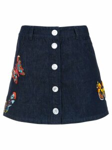 Andrea Bogosian embroidered denim skirt - Blue