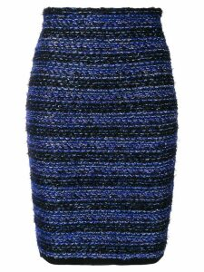 Balmain striped tweed pencil skirt - Blue