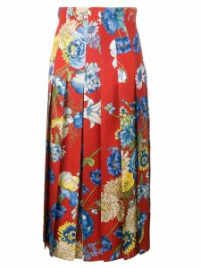 Gucci floral pleated midi skirt - Red