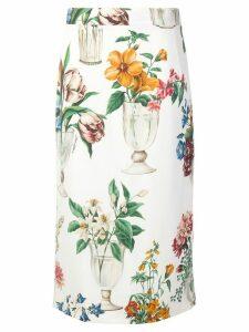 Dolce & Gabbana glasses print straight skirt - White