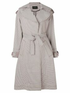 Cédric Charlier checked trench coat - Grey