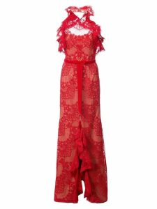 Marchesa Notte ruffled guipure lace gown - Red