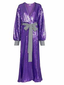 Natasha Zinko sequin embellished maxi robe dress - PURPLE