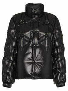 Moncler Rubellite flower embellished quilted jacket - Black