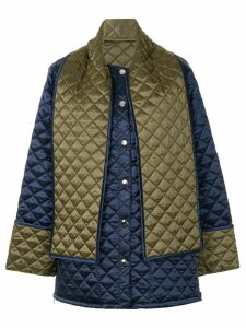 MSGM back print quilted jacket - Blue