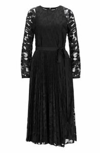Long-sleeved midi dress in embroidered tulle with plissé skirt
