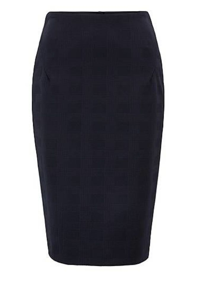 Stretch-jersey pencil skirt with two-way rear zip