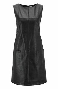 Faux-leather sleeveless dress with patched pockets