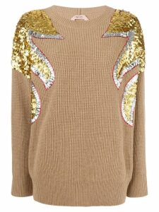 Nº21 sequin embellished rib-knit sweater - Brown