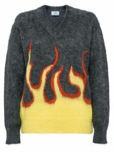 Prada flame intarsia sweater - Grey