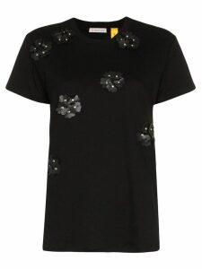 Moncler studded floral cotton t-shirt - Black