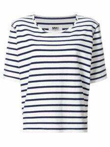 Mm6 Maison Margiela oversized striped T-shirt - White