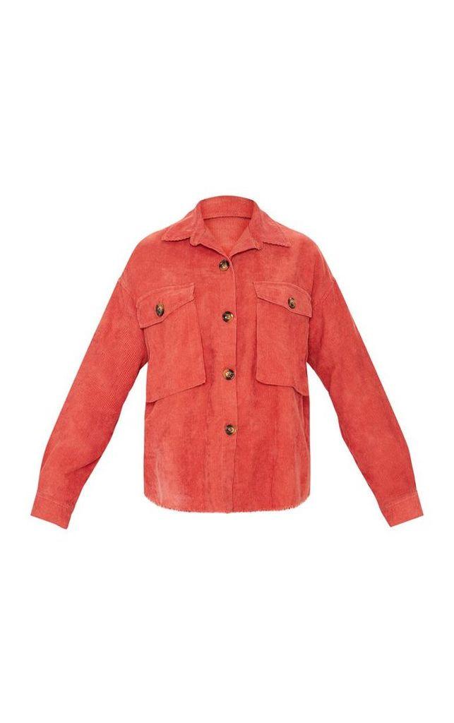 Rust Cargo Pocket Cord Shirt, Brown
