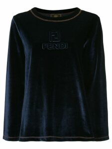 Fendi Pre-Owned logo embossed velour sweater - Blue