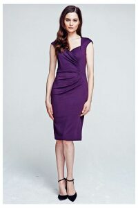 Womens HotSquash Damson Short Sleeved Dress With Cross Over Top -  Purple