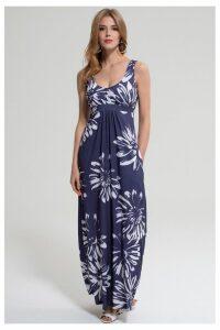 Womens HotSquash Blue With White Flower Empire Line Maxi Dress -  Blue