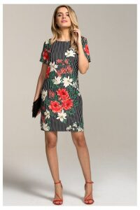 Womens HotSquash Pin Striped Floral Rivera Print Shift Dress -  Black