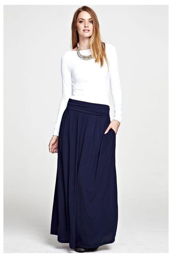 Womens HotSquash Inky Navy Luxury Roll Top Maxi Skirt -  Blue