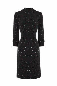 Womens Warehouse Black Spot Print Short Dress -  Black