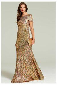 Womens HotSquash Gold Cowl Back Sequined Fishtail Maxi Dress -  Gold